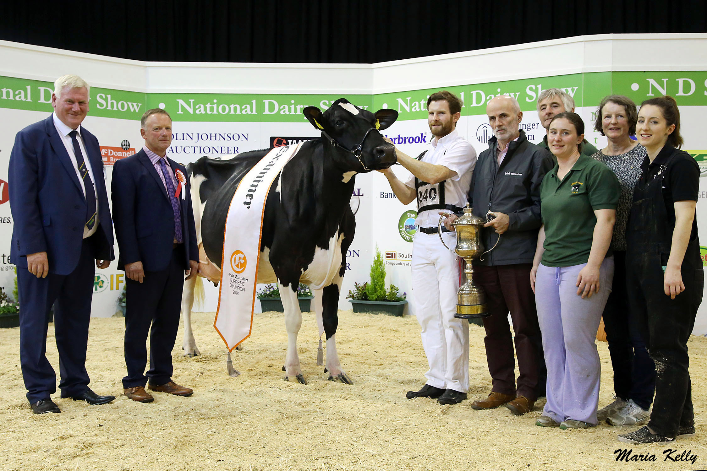 20/10/18, John Kirby Director of National Dairy Show, Edward Griffiths, Judge with the Irish Examiner National Dairy Show 2018 Supreme Champion Milliedale Dusk Rhapsody, owned by Donal & Kathleen Neville, pictured with their family Thomas, Ann and Catriona and sponsor Stephen Cadogan, Irish Examiner. Photo: Maria Kelly